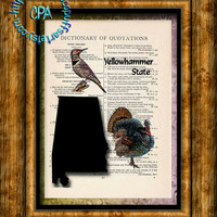 ALABAMA State Black Silhouette with State Birds Art - Vintage Dictionary Page Art Print Upcycled Page Print