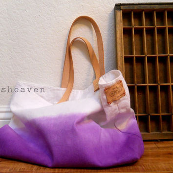 TOTE BAG..purple (with leather strap)....large size
