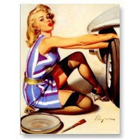 Damsel In Distress Pin Up Girl ~ Retro Art Postcard