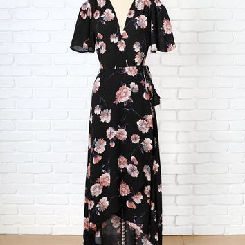 Black Floral V-Neck Wrap Dress | NRFB