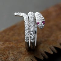 Snake Wrap Ring Pink Eye Crystal Animal Adjustable Jewelry Free Size Silver Plated Ring gift idea 1