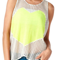 Neon Yellow Heart Sweater Tank