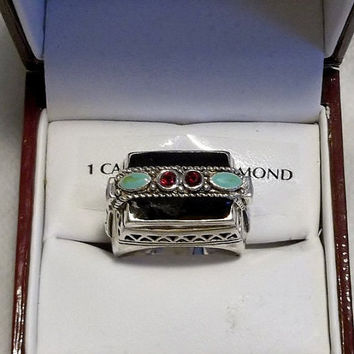 Reduced! Statement Ring, Black, Silver, Green, Red, Ornate Silver Band and Setting, Filigree Details in Silver Metal, Very Pretty, Size 8