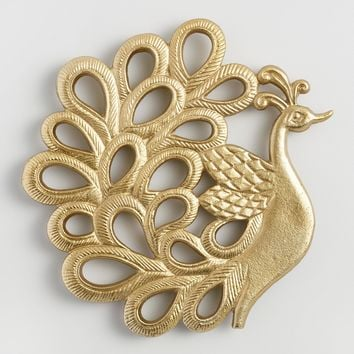 Gold Peacock Metal Trivet