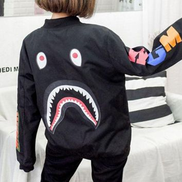 DCCKB62 BAPE SHARK Women Men Personality SHARK Print long Sleeve Jacket Coat