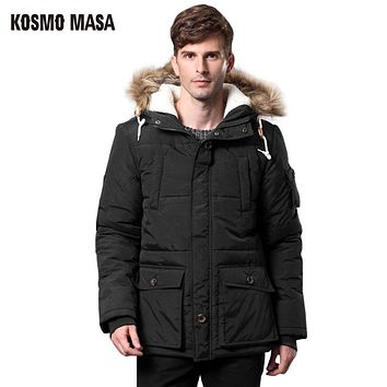 Cotton Thick Fur Hooded Jacket Parka For Men Autumn Winter Casual Windproof Jackets Coat Mens Down Parkas