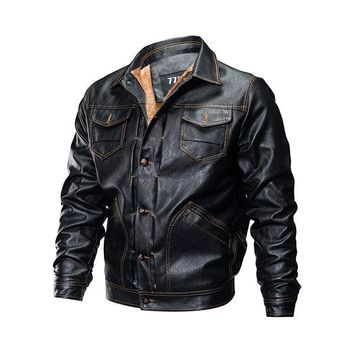 Mens Casual PU Leather Double Chest Pockets Thicken Fleece Leather Jackets