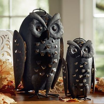 PUNCHED METAL OWLS CANDLE HOLDERS