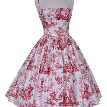 Paris Red Toile Dress in 4XL (LAST ONE)