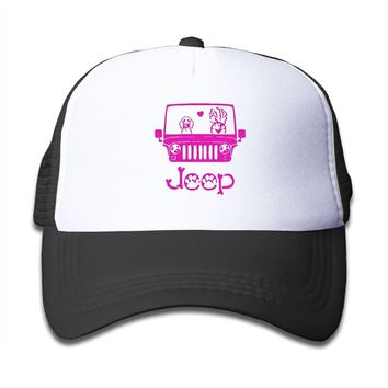 Qiop Nee Pink Mesh Baseball Caps Adjustable Youth Hat Jeep Dog Unisex