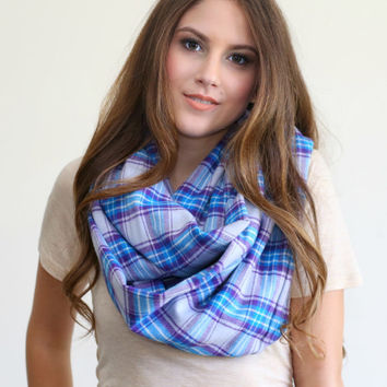 Lavender Plaid Infinity scarf, Warm winter Infinity Scarf, Plaid flannel scarf