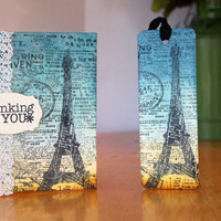 Thinking of You Gift Set, Bookmark, Note Card, Paris, France, Eiffel Tower, Sunset, by Mrs Kristen Creations on Etsy