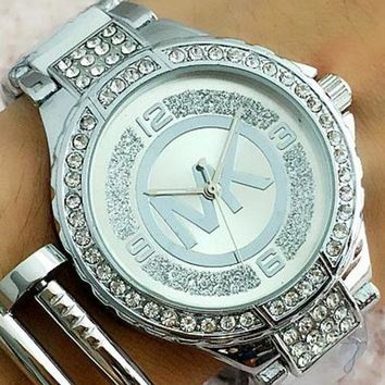 ac NOVQ2A MK MICHAEL KORS Fashion Woman Casual Quartz Movement Watch Wristwatch F-Fushida-8899 Silver