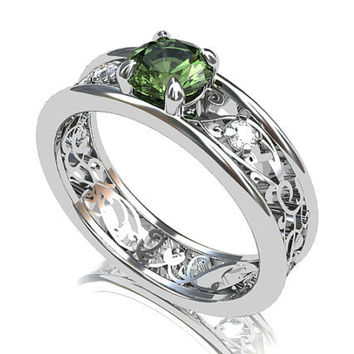 Ring size US 6, Ready to ship, Green sapphire ring, diamond, sapphire engagement ring, unique, engagement ring, filigree, white gold