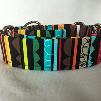 "Jigsaw Stripe Black/Bright Martingale or Quick Release 5/8"" Quick Release 3/4"" 1"" Martingale 1.5"" Martingale 2"""