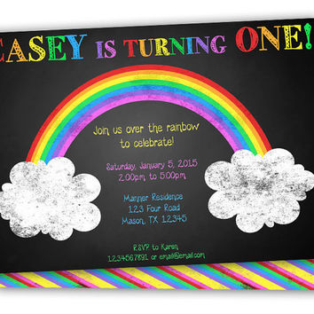 Rainbow 1st Birthday Invitation from PartyPrintExpress on Etsy