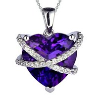 Amethyst Wrapped Heart Pendant