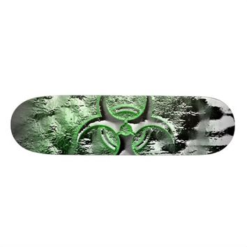 Green & silver biohazard toxic warning sign symbol skateboard