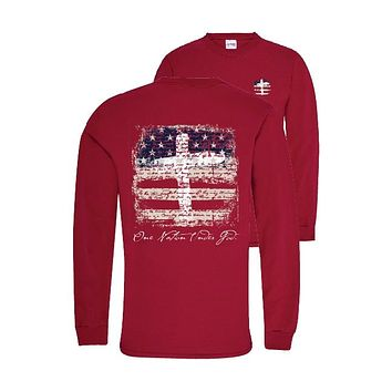 Southern Couture Preppy One Nation USA America Long Sleeve T-Shirt