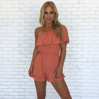 Primary Love One Shoulder Romper In Coral