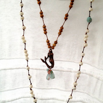 Reserved For Elizabeth Pearl Necklace Hand Knotted on Leather, White Freshwater Potato Pearls, Amazonite Beads on Distressed Brown Leather