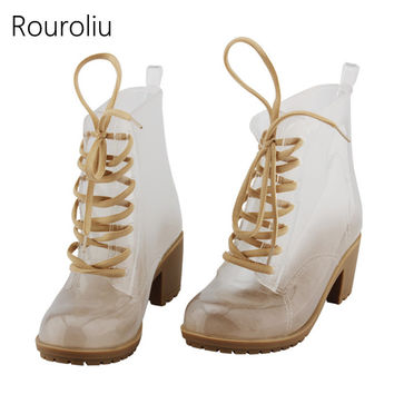 New Fashion Women High Heels Transparent PVC Rain Boots Lace-up Clear Rainboots Water Shoes Wellies Jelly Colors  TS50