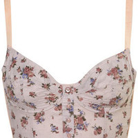 Lilac Floral Print Button Through Bralet - Topshop USA