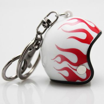 Flame Motorcycle Helmet Keychain Men Car Keyring Cartoon PVC Spiderman Ironman Anime Hat Key Holder Children Key Ring
