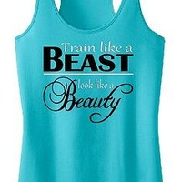 Train like a Beast look like a Beauty Tank Top Exercise Fitness Girl Shirt Sport