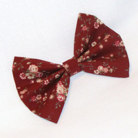 Hair Bow Vintage Inspired 1920s Burgandy with Flowers Clip Rockabilly Pin up Teen Woman