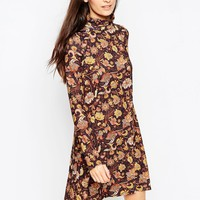 ASOS Polo Neck Dress in Paisley Print at asos.com