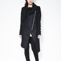 High Collar Coat / Asymmetrical Jacket with Zipper / Designer Coat / Spring Jacket - MC096