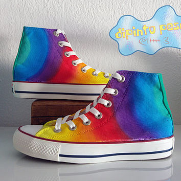 Tie Dye Rainbow Hand Painted Custom Shoes