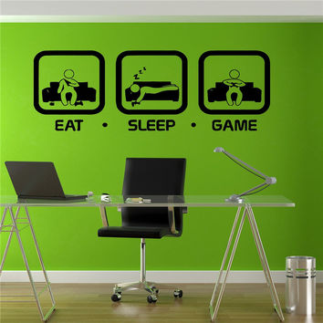 Eat Sleep Game Wall Decal Gaming Joystick Playing Sticker Wall Decal Gaming Home Decor Gamer Wall Art Sticker C03