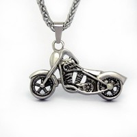 Personalized motorcycle skull pendant necklace men jewelry including chain SP076