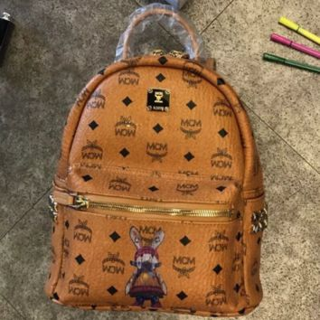 MCM 2018 New Rivet Backpack Bunny Lettering Pack Wild tide Female bag Mummy bag Light Brown