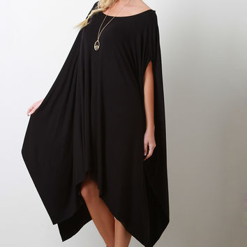 Solid Color Handkerchief Poncho Dress