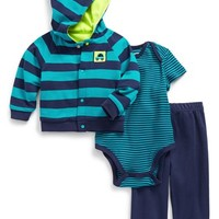 Infant Boy's Offspring 'Cars' Hooded Jacket, Stripe Bodysuit & Pants