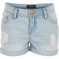 River Island Girls blue distressed denim hipster shorts