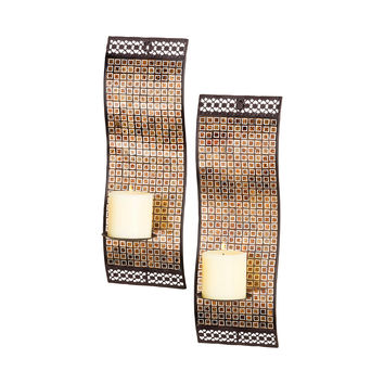 Kingsway Set of 2 Wall Lighting Kingsway Mosaic,Rustic