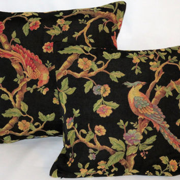 "Black Brocade Pillow With Red Bird, Pheasant or Peacock, Flowers in Gold and Green, 16"" Square Zipper Cover with Insert Ready to Ship"