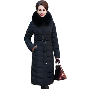 2017 Full Zipper Solid Ukraine New Middle - Aged Elderly Long Jacket Warm Winter Coat Thicker Mother Fitted Women Cotton Dress