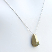 Faceted Gold Pendant Sterling Silver Fine Chain Modern Necklace Lost Wax Cast Geometric Pendant Simple Gold Necklace Unique Shape Necklace