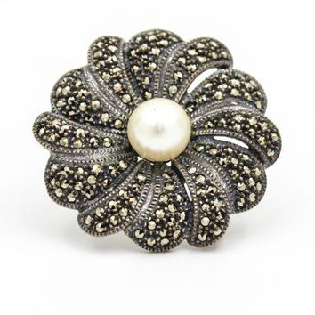 Judith Jack Vintage Flower Brooch with Pearl Center and Marcasite