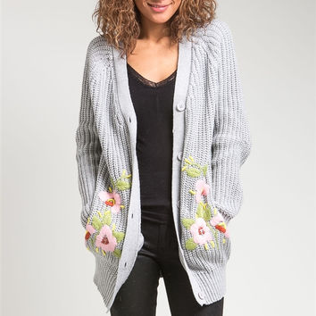Oversized Button Down Cardigan Sweater with Floral Design in Gray