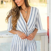 Blue and White Short Sleeve Striped Romper