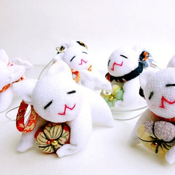 Japanese Cat with a silk kimono plum mascot for One earring, Earphone jack, Hook strap  - Pick Your Kitty -
