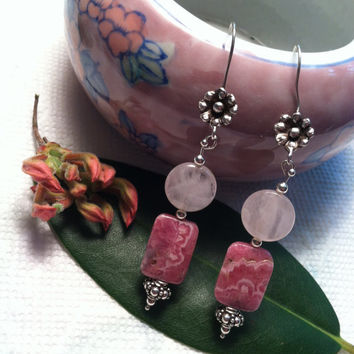 Pink and Rose Fancy Drop Earrings Rose Quartz and Rhodochrosite Gemstone Jewelry Woodland Boho Style Floral Jewellery Wedding Festival Gift