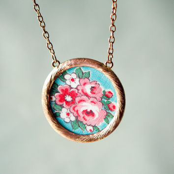 quilting bee  - upcycled material necklace