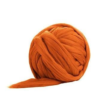 Solid Colored Corriedale Jumbo Yarn - Toffee - 6.6lb (3kg) Special for Arm Knitted Blankets